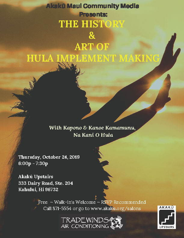 Akakū Upstairs: The History and Art of Hula Implement Making